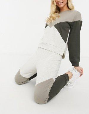 Джоггеры цвета слоновой кости в стиле колор блок от комплект -Белый BB Dakota