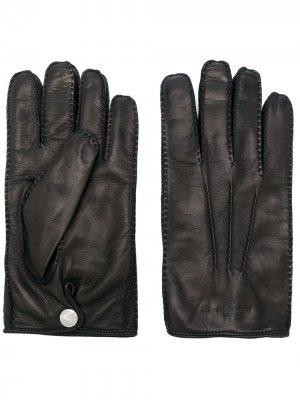 Перчатки с тисненым логотипом Alexander McQueen. Цвет: черный