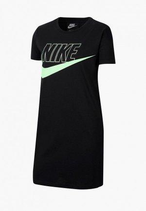 Платье Nike G NSW FUTURA TSHIRT DRESS. Цвет: черный