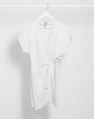 Белое платье мини из ткани на основе льна -Белый ASOS DESIGN