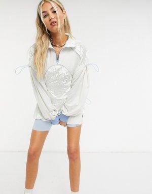 Платье-пуловер с короткой молнией, сетчатыми вставками и поясом -Белый Zemeta