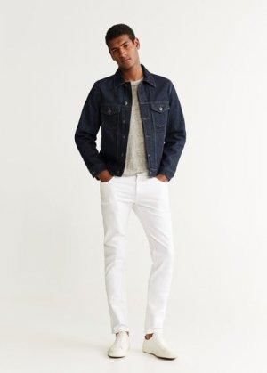Джинсовая куртка с легким эффектом застиранности - Ryan5 Mango. Цвет: синий
