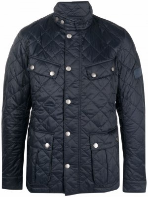 Quilted logo-patch jacket Barbour. Цвет: синий