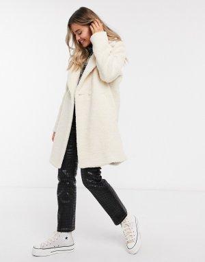 Удлиненное плюшевое пальто кремового цвета -Кремовый Hollister