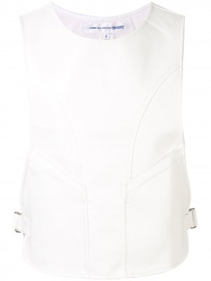 Жилет с круглым вырезом и пряжками Comme Des Garçons Shirt. Цвет: белый