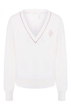 Пуловер из смеси шерсти и шелка Chloé. Цвет: белый