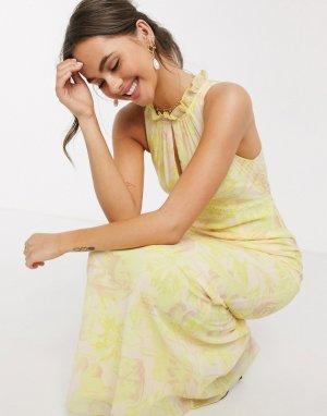Платье макси с цветочным принтом лимонного цвета -Желтый Little Mistress