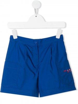 Расклешенные шорты с вышитым логотипом Philosophy Di Lorenzo Serafini Kids. Цвет: синий