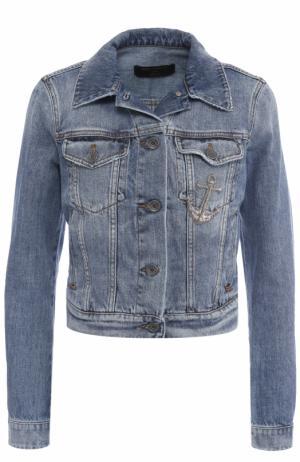 Укороченная джинсовая куртка с потертостями Dolce & Gabbana. Цвет: голубой