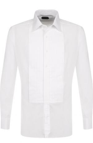 Хлопковая сорочка под смокинг Tom Ford. Цвет: белый