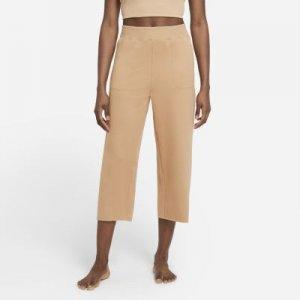 Женские укороченные флисовые брюки Yoga Luxe - Коричневый Nike