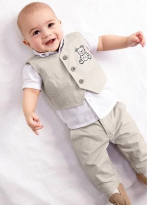Мода для малышей: рубашка + жилет брюки (3 изд.), Размеры 56-110 (белый/натуральный камень) bonprix. Цвет: белый/натуральный камень