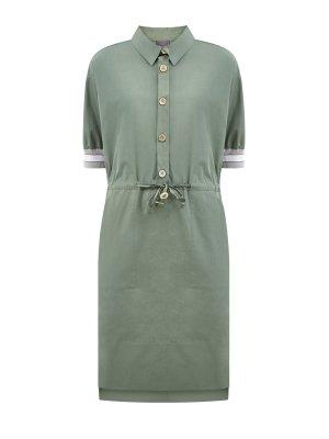 Платье-поло из плотного хлопка с талией на кулиске LORENA ANTONIAZZI. Цвет: зеленый