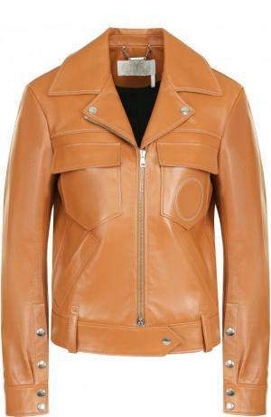 Кожаная куртка с поясом и накладными карманами Chloé. Цвет: светло-коричневый