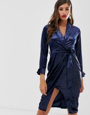 Платье с лацканами и запахом Closet-Темно-синий Closet London