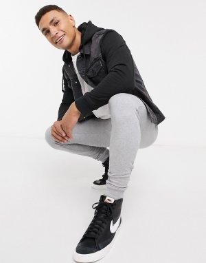 Черная джинсовая куртка с трикотажными рукавами и капюшоном -Черный New Look
