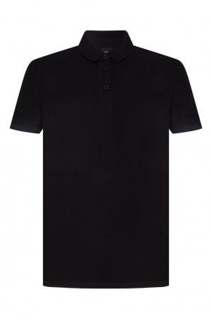 Черное поло с короткими рукавами Boss Orange. Цвет: черный