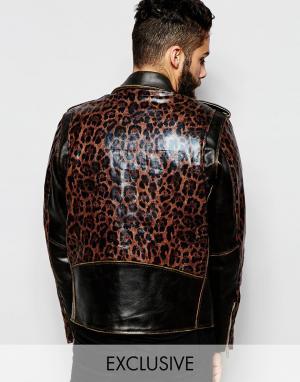 Кожаная байкерская куртка с леопардовыми вставками Reclaimed Vintage. Цвет: черный