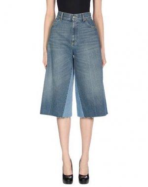 Джинсовые брюки-капри GUCCI. Цвет: синий