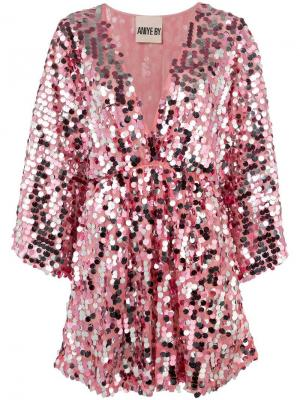 Короткое платье с пайетками Aniye By. Цвет: розовый