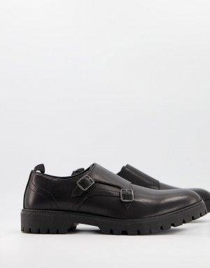 Черные кожаные монки с двойным ремешком -Черный цвет ASOS DESIGN