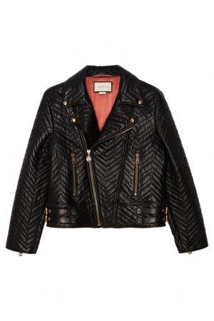 Кожаная куртка с косой молнией Gucci. Цвет: черный