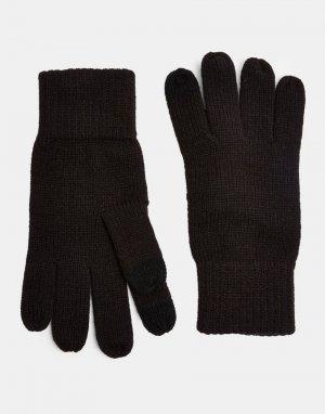 Черные перчатки для сенсорных экранов -Черный цвет Topman