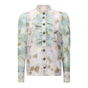 Блузка изо льна и шелка Zimmermann. Цвет: голубой
