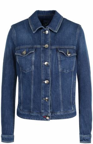 Джинсовая куртка с вышивкой и потертостями Jacob Cohen. Цвет: синий