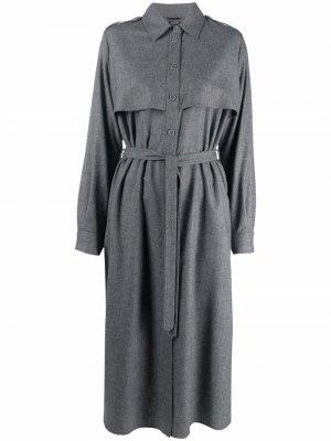 Платье-рубашка длины миди Aspesi. Цвет: серый