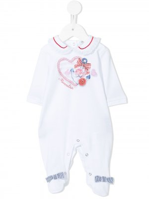 Пижама с логотипом Monnalisa. Цвет: белый