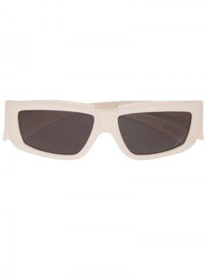 Солнцезащитные очки в прямоугольной оправе Rick Owens. Цвет: белый