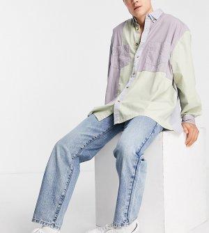 Синие выбеленные джинсы прямого кроя в винтажном стиле COLLUSION x005-Голубой