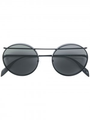 Солнцезащитные очки-авиаторы в круглой оправе Alexander McQueen Eyewear. Цвет: черный