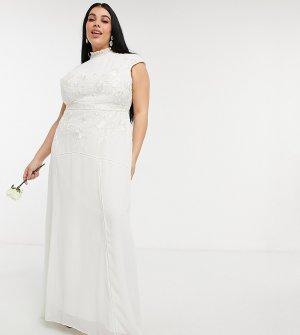 Свадебное платье макси цвета слоновой кости с вырезом-каплей на спине, цветочной вышивкой и отделкой бисером -Белый Hope & Ivy Plus