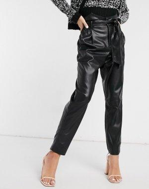 Черные брюки из искусственной кожи с поясом и завышенной талией -Черный BB Dakota