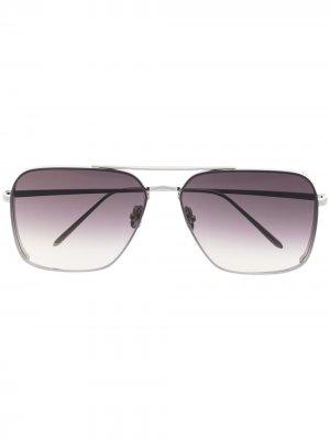 Позолоченные солнцезащитные очки-авиаторы Asher Linda Farrow. Цвет: серебристый