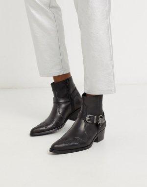 Черные кожаные ботинки челси в стиле вестерн на кубинском каблуке с пряжками -Черный ASOS DESIGN