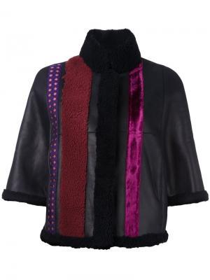 Кожаная куртка с полосатой отделкой Etro. Цвет: чёрный