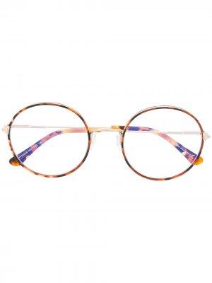 Очки в круглой черепаховой оправе TOM FORD Eyewear. Цвет: коричневый