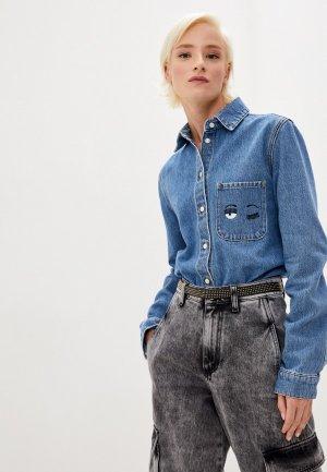 Рубашка джинсовая Chiara Ferragni Collection. Цвет: голубой