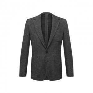 Пиджак из шерсти и хлопка Dolce & Gabbana. Цвет: серый