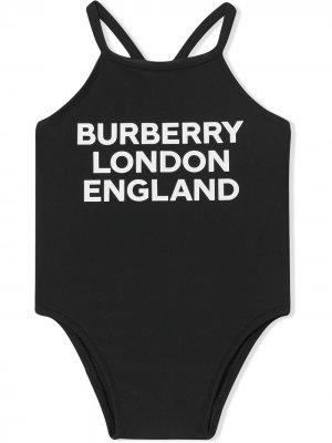 Купальник с логотипом Burberry Kids. Цвет: черный