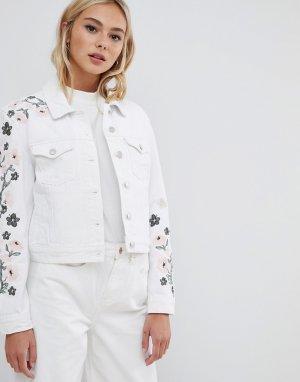 Джинсовая куртка с вышивкой -Белый Urban Bliss