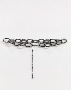 Ожерелье-чокер с овальными звеньями и стразами -Серый Uncommon Souls