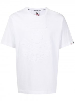Logo-debossed cotton T-shirt AAPE BY *A BATHING APE®. Цвет: белый