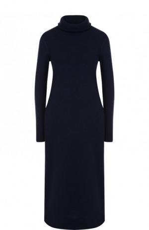 Кашемировое платье-миди с воротником-стойкой Loro Piana. Цвет: темно-синий