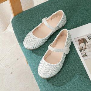 Для девочек Туфли мэри джейн волна со стразами SHEIN. Цвет: бежевые