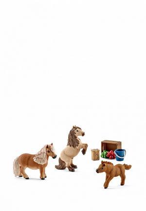 Набор игровой Schleich Семья Шотландского пони. Цвет: коричневый