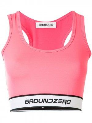 Укороченный топ с логотипом Ground Zero. Цвет: розовый